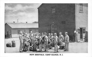 Camp Kilmer New Jersey~WWII Army Post~New Arrivals With Duffel Bags~1940s B&W PC