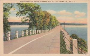 New York Lake Champlain Across Sand Bar Bbridge To Grand Isle Vermont Curteich