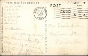 Fort Riley KS Soldiers Passing the Colors WWII Era Postcard