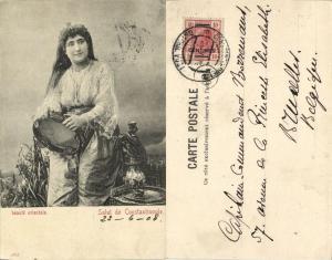 ottman turkey, CONSTANTINOPLE, Oriental Beauty (1908) Austrian Stamp 10 Centimes