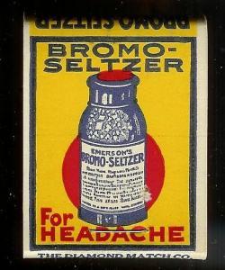 BROMO SELTZER 1930's Full Unstruck Matchbook