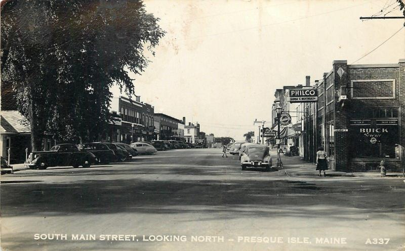 Presque Isle ME Nightingale Philco~Buick Car Dealer~Main & Academy St~RPPC 1940s