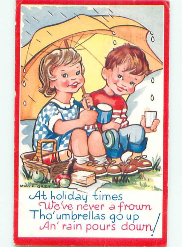 Pre-1980 signed GIRL AND BOY SHARING AN UMBRELLA AC7514