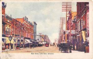 Little Rock Arkansas Main Street Scene Historic Bldgs Antique Postcard K90797