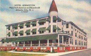Atlantic City New Jersey Hotel Lexington Boardwalk 1950s Postcard Kropp 21-9763