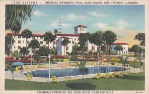 Florida Daytona The Riviera Showing Swimming Pool Sand Beach And Tropical Gar...