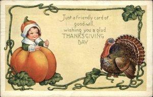 Thanksgiving - Whitney Part of Set - Child Turkey & Pumpkin c1910 Postcard #3