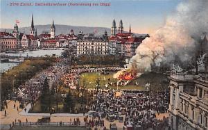 Switzerland Old Vintage Antique Post Card Zurich, Sechselautenfauer Unused