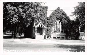 Humboldt Iowa~Ivy-Topped Congregational Church~Stained Glass Windows RPPC c1950