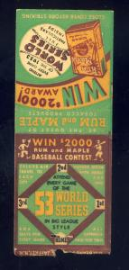 1953 World Series Matchcover, Rum & Maple Tobacco, Baseball