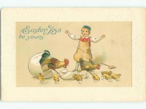 Pre-Linen easter BOY WATCHES ROOSTER HATCHING FROM LARGE EGG k2780