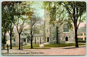 West Medford Massachusetts~Congregational Church~Houses Beside~c1910 Postcard