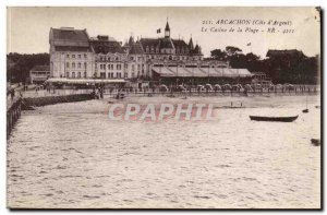 Arcachon Old Postcard Casino and the beach