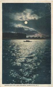 Moonlight over Lake Ontario - Charlotte, Rochester, New York - pm 1920 - WB