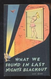 WHAT WE FOUND IN LAST NIGHTS BLACKOUT RISQUE PRETTY GIRL VINTAGE COMIC POSTCARD