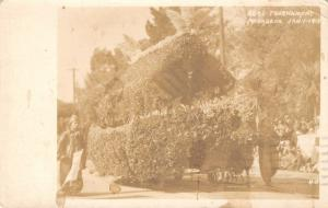 Pasadena CA~Rose Parade Float~Fireman John Buehler Engine 25 to Call~1915 RPPC