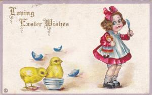 EASTER; Loving Wishes, Girl holding doll & Spoon, Chicks with empty bowl, egg...
