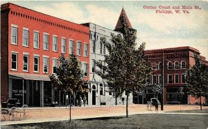 G32/ Philippi West Virginia Postcard c1910 Corner Court Main Street