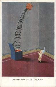 Fantasy - Little Boy Giant Jack-in-the-Box Devil Head SWSB 9039 c1920 Postcard