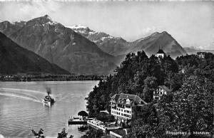 Switzerland Ringgenberg g Interlaken Terrace River Boat Mountains Postcard