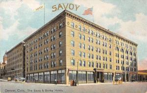 Denver Colorado birds eye view Savoy and Shirley Hotels antique pc Y13568