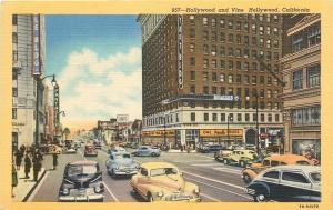 Hollywood & Vine Streets~Owl Drug Store~Pantages~Taft Bldg~Nice Cars~1947 Linen