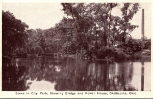 Ohio Chilicothe Scene In City Park Showing Bridge and Power House
