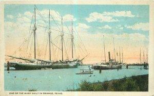 Boats Waterfront Orange Texas Griggs Teich 1920s Postcard 21-47