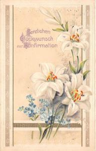 BG4508 konfirmation confirmation lilly flower  embossed  germany  greetings