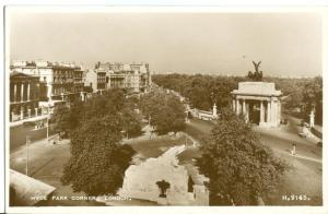 Hyde Park Corner, London, 1930s unused real photo Postcard