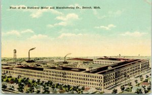 1910s DETROIT, Michigan Postcard Plant of the NORTHWAY MOTOR & MFG CO. Factory