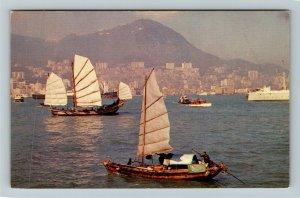 Hong Kong, View Of Harbor, Chrome Postcard