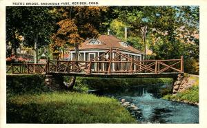 CT - Meriden.  Brookside Park, Rustic Bridge