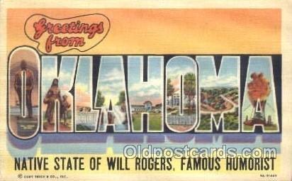 Oklahoma, USA Large Letter State Unused