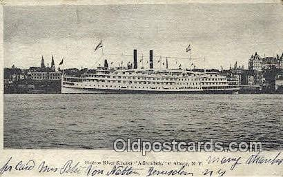 Hudson River Steamer Adirondack, Albany, New York, NY USA Steam Ship Postcard...