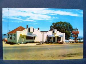Postcard MI St Ignace 1950's Belle Isle Finer Foods Restaurant Diner Old Cars