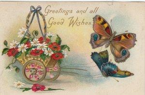 Butterflies pulling cart of flowers # 2, PU-1911