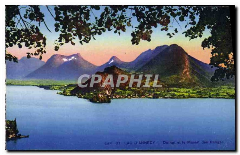 Old Postcard Lake Annecy Duingt and Bauges