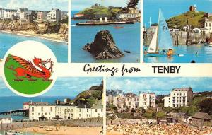Greetings from Tenby, From St. Catherine's Goscar Rock Castle Hill Harbour Beach