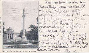KENOSHA, Wisconsin, PU-1906; Soldiers Monument and Library