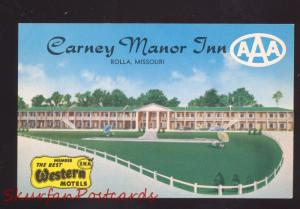 ROLLA MISSOURI CARNEY MANOR INN MOTEL ROUTE 66 VINTAGE ADVERTISING POSTCARD