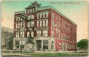 1909 GRAND ISLAND, Nebraska Postcard PALMER HOUSE HOTEL Street View Hand-Colored
