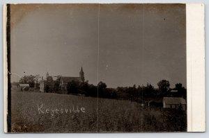 Keyesville Wisconsin~Hillside Catholic Church & School~Homes in Valley RPPC 1910