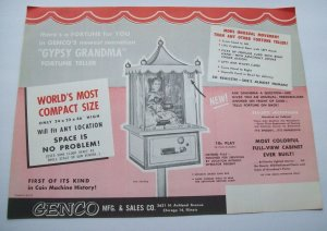 Genco Gypsy Grandma Arcade FLYER 1957 Original NOS Fortune Teller Horoscope Game