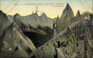 LA Thompson Scenic Railway Roller Coaster c1910 Postcard