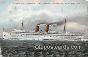 Steamer Yale Boston to New York USA Ship Stamp on back