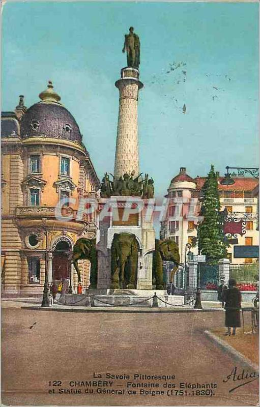 Postcard Old Fountain of Elephants Chambery Savoie Picturesque