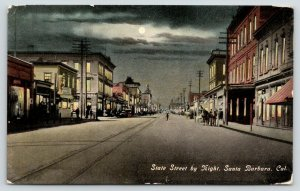 Santa Barbara CA~State Street Night Lights~Barber Shop~5c Beer Mug~Moon~1912