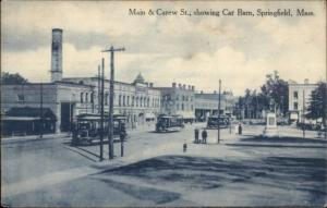 Springfield MA Main & Carew St. Trolley Car Barn c1910 Postcard