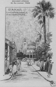 CPA AK Sénégal, Dakar La Cathedrale et rue Dagorne (45938)